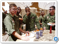 Marines in Iraq enjoying a cookout with Wisconsin River Meats